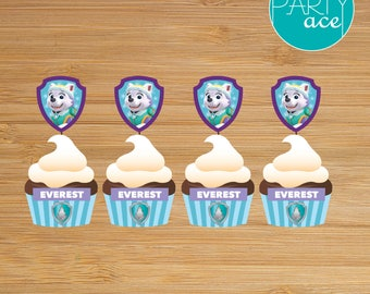 Everest Cupcake Wrappers and Toppers Paw Patrol Printable Happy Birthday Party Decoration