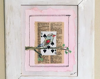 Dictionary art, boho bird, Mixed media collage, framed, ready to hang, acrylic paint, ink, bird, paper, deck of cards, texture, white washed
