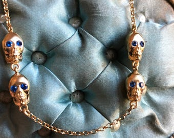 Skull Necklace Memento Mori Mourning Gothic Mourning Jewelry Goth 18K Gold Plated Silver and Blue Natural Zircon