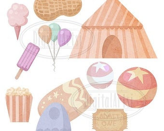 50% OFF Pastel Grunge Circus Downloadable - Circus ClipArt - Digital Download - Peanuts tent cotton candy circus