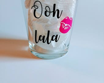 Customized or personalized glass.
