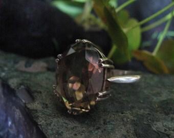 Sterling Silver Modernist Smokey Quartz Ring