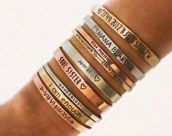 Personalized Gold Band Cuff Bracelet Personalized Bracelet Bangle Stacking Bracelets Customized Cuff Hand Stamped Bracelet Cuffs Gift Mama