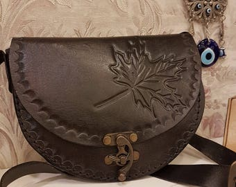 Black Crossbody, Leather, Leaves designed, Autumn Leaves Code:114