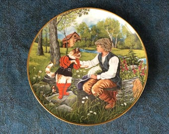 "Vintage Kaiser Porcelain Collectors Plate, ""Der Gestiefelt Kater"", ""Puss in Boots""skin by Gerda Neubacher, Fairy Tale Plate"