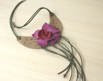Leather bib necklace, leather flower necklace, orchid flower, bohemian necklace, leather jewelry, gift for mom, for girlfriend