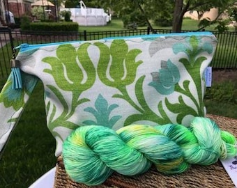 Green leaves kit, Green and blue flowers zippered bag