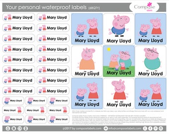 Peppa pig - Your personal waterproof labels (68 Qty) Free Shipping