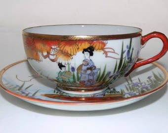 Vintage Japanese Egg Shell China Cup & Saucer