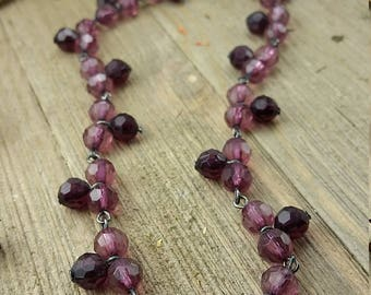 Vintage Purple Beaded Necklace