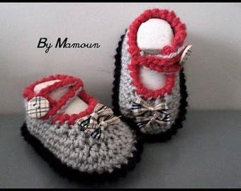 Ballerinas (0-3 months) baby booties crocheted handmade tartan beige