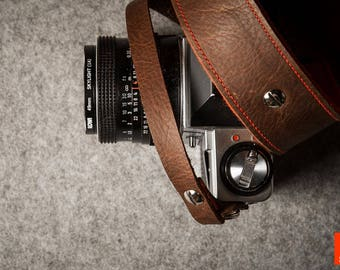 Classic laser ENGRAVED Camera Strap - Brown Leather