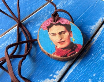 Frida Kahlo Wood Hand Painted Pendant Necklace with 32 Inch Suede Cord Gift for Art Teacher or Frida Kahlo Fan Valentine's Day Gift Cinco de