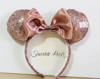 Rose Gold Inspired Mickey Ears/MinnieEars/Bow/Ears/Rose Gold/Mickey/Minnie