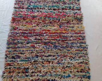 Vintage Boucherouite Rug, Handmade From Wool And Recycle Textile