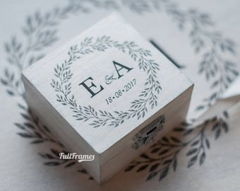 Vintage Wedding Ring Box / Custom Made Ring Box with Printed Initials and Wreath / Wedding Ring Box in Foggy White Color