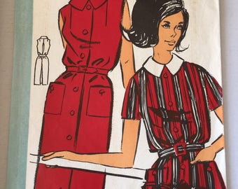 "Fabulous 60's french vintage sewing pattern - ""Patrons Modele 86011"" woman shirt dress with buttons collar and belt size 48 / size 20"