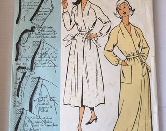 "Fabulous 50's french vintage sewing pattern ""Patrons modeles 59095"" woman raglan nightgown lingerie sleepwear size 16 taille 44"
