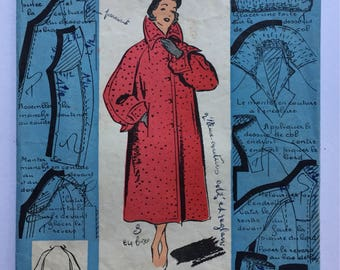 """Fabulous 50's french vintage sewing pattern : Woman raglan winter coat with collar and pockets - size 16 taille 44 """"Patron modele 50077"""""""