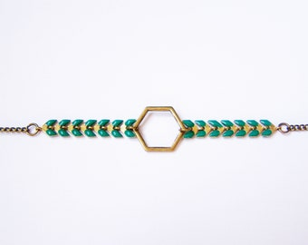 Bracelet chain Spike and emerald green Hexagon