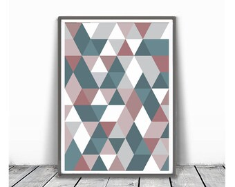 Geometric Print, Grey  rose  teal Art, Triangle Print, Printable Art, Geometric Proster, light pink and teal, Abstract Wall  Triangle Print