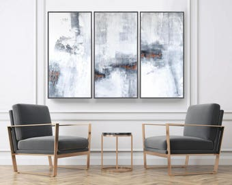 Abstract Art, Set of 3 Prints,  Wall Art Prints, Minimalist Art Abstract Painting, Scandinavian Prints, gray ang copper, large set of 3