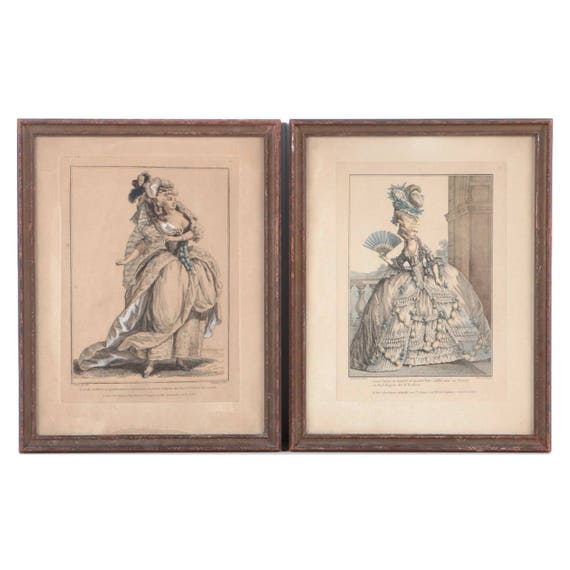 A pair of framed hand-colored French fashion engravings from Galeries des Mode etc Costumes Français, 1778.