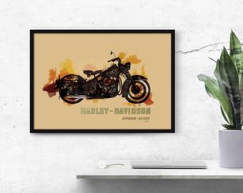 Harley Davidson Wall Decor harley davidson art | etsy