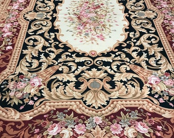 """10'2"""" x 14' Chinese Needle Point Oriental Rug - Hand Made - 100% Wool"""