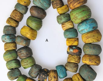Strand of Antique Mixed Color Hebron Beads - African Trade Beads - Yellow, Blue & Green