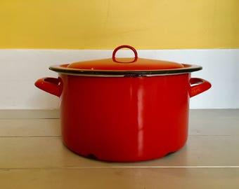 French Vintage 1970s Red Enamel Pot