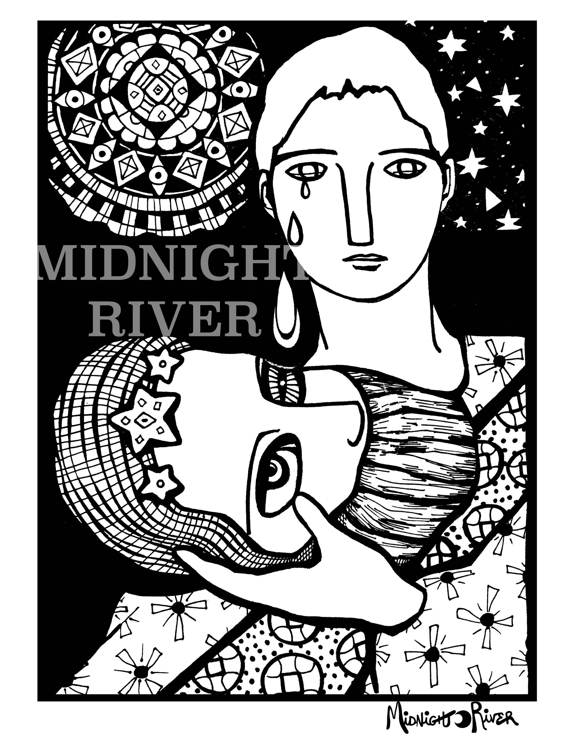 Rapunzel Heals Printable Coloring Page // Magical Detailed Illustration, Woman with Stars // Instant PDF