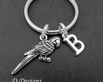 Parrot KeyRing, Parrot KeyChain, Bird KeyChain, Personalised Parrot Key chain, Parrot Gifts, Bird Keychain