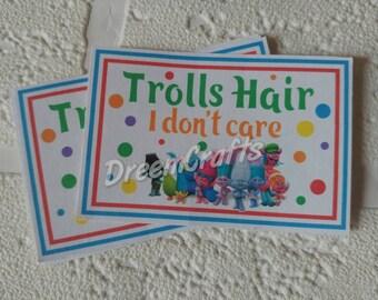BOY Trolls label. Trolls hair. Trolls sticker. Trolls party favor. Trolls dessert sign. Boy Trolls birthday. Trolls party. Trolls sign.