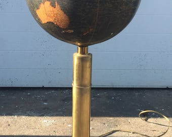 Vintage Brass and Glass Globe Table Lamp