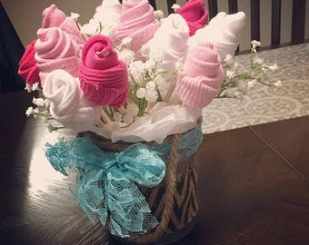 Baby sock bouquet etsy welcome baby gift baby sock bouquet its a boy its a girl negle Image collections
