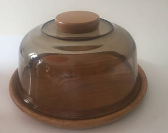 Vintage Retro 1970s 70s Arcoroc glass & wood cheese board with dome cloche - Kitchenalia