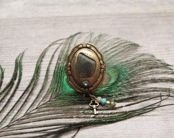 Clearance 50% Off Labradorite Ring,Mystical Jewelry Ring,Boho Ring,Gemstone ring,Statement Ring,Bronze Ring,layered Ring,Bohemian Ring