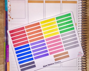 Rainbow Blank Headers for use with Vertical Erin Condren Life Planner