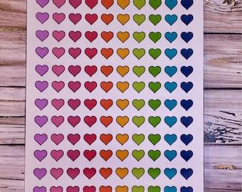Rainbow Heart Planner Stickers