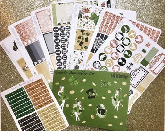 St. Patrick's Day Weekly Planner Sticker Kit for use with vertical Erin Condren Life Planner
