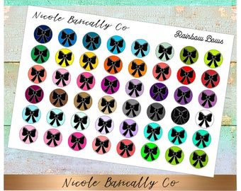 Bow Icons in Rainbow Colors- Planner Stickers