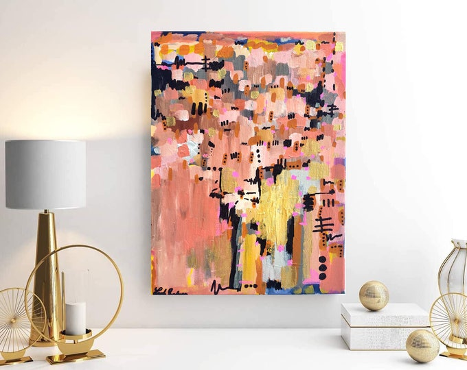 Pink Abstract Painting, Pink Waves Abstract Art, Acrylic Painting, 12x16 painting, Small Painting, Affordable Art, Pink Wall Art, Gold Leaf