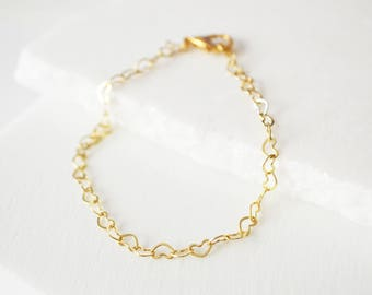 Gold Bracelet, Delicate Bracelet, Heart Bracelet, Dainty Gold Bracelet, Delicate Jewelry, Delicate Bracelet, Dainty bracelet Gold