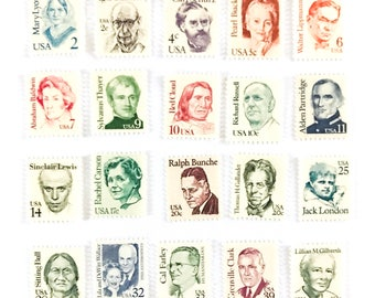 20 x Various Values UNused US Vintage 1985 Postage Stamps - Mixed for Making Up Postage - Famous Faces - photo styling, scrapbook