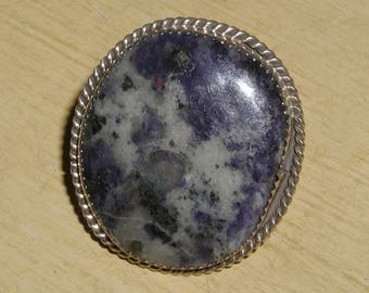 Bold, Beautiful, Huge Blue Gray Marbled Stone Sterling Silver Hallmarked Ring - Size 7.5-7.75