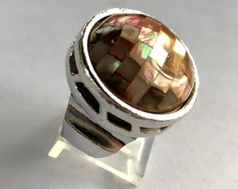 Vintage Givenchy Pink Mother of Pearl Mosiac Ring WOW! size 8.5