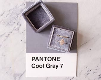 Ring Box - Velvet Ring Box - Vintage Style - Proposal Ring Box - Engagement ring box - Wedding - Personalized Gift - Double - Cool Gray