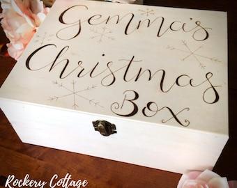 Christmas eve box, personalised box, custom box, wooden box, Christmas box, customised Christmas, wood burned box, storage, Christmas gift