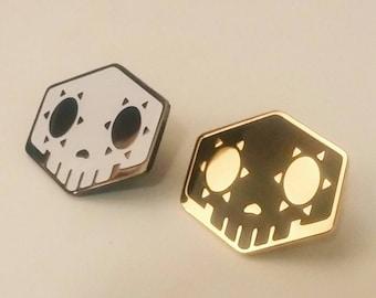 Overwatch Inspired Sombra Skull Glow In The Dark or Black/Gold Hard Enamel Pin